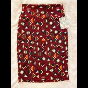 NWT LulaRoe Cassie skirt Aztec/Indian burgundy XS